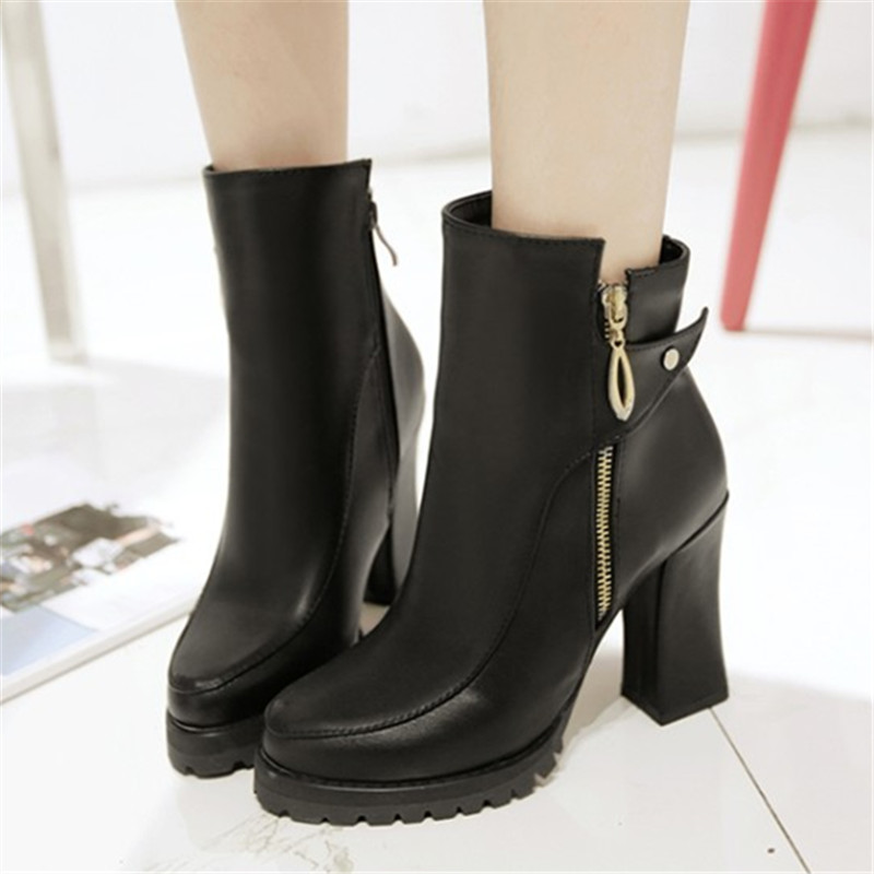 Size 34-45 Autumn Winter Zipper Women boots Platform High heels Ladies Rivet Martin Leather boots Square heel Snow Boots Shoes<br>