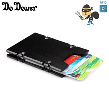 Antitheft Metal Rifd Wallet Aluminum Minimalist Slim Elastic Credit Card Holder Case Men Mini Wallet Porte Carte Cardprotector(China)