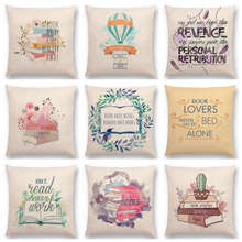 Pastel Decorative Letters Warm Words Reading Books Tea Coffee Travel Interesting Tale Love Cushion Cover Sofa Throw Pillow Case(China)