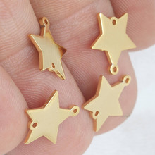 5 Pc- raw brass 24k Shiny Gold Star Charms, Pendant,Necklace,11x12mm .BRT759(China)