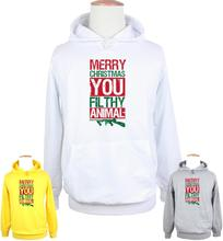 Merry Christmas Ya Filthy Animal Guns Design Hoodie Men's Boy's Women's Girl's Sweatshirt Tops White Grey Yellow
