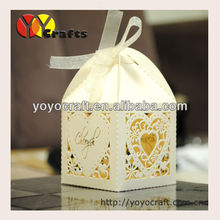 high quality laser cut customized centerpieces favor paper small laser cut  heart birds wedding box with free name logo