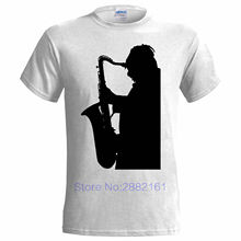 LARGE SAX PLAYER SILHOUETTE MENS T SHIRT SAXOPHONE JAZZ MUSIC BLUES BAND GIFT New Men'S Fashion Short-Sleeve T Shirt Mens(China)