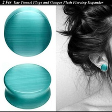 2 Pcs Lake Blue Opal Ear Tunnel Natural Stone Plugs and Gauges Flesh Piercing Ear Reamer Expander Lead Free Nickle Free 5-25mm(China)