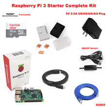 Raspberry Pi 3 Model B Board + ABS Case + Heat Sink + Power Adapter AC Power Supply + Micro USB Power Cable + 16 GB MicroSD Card