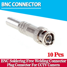 10Pcs CCTV RG-59 Male BNC Connector To Coaxial Cable BNC Connector For AHD CVI TVI Camera(China)
