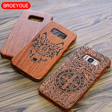 BROEYOUE Case For iPhone 7 6 6S 6 Plus 5S 5 SE Wood Cover For Samsung Galaxy S8 S7 S6 Edge Plus S5 Note 3 4 5 7 Drop Shipping