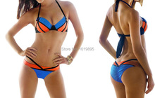 Blue Orange Patchwork Bikinis Halter Top Strap Swimwear Women Bandage Swimsuit Tops Padded Push Up Bathing Suits Sexy Beach Wear(China)