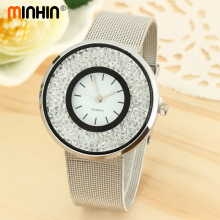 MINHIN Elegant Ladies Crystal Bangle Watch Luxury Brand Women New Design Metal Mesh Band Business Wrist Watch Gift(China)