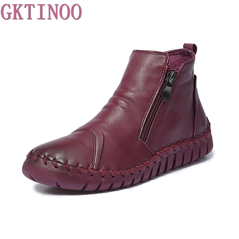 2017 Women Fashion Vintage Handmade Genuine Leather Shoes Female Autumn winter Platform Ankle Boots Woman Casual Boots <br>