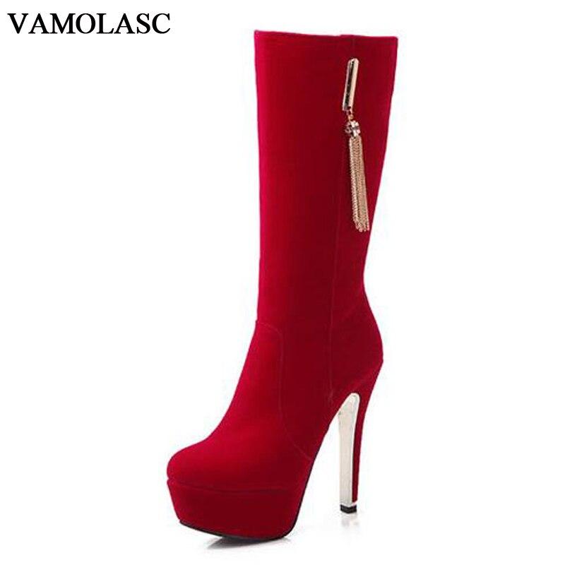 VAMOLASC New Women Autumn Winter Warm Faux Suede Mid Calf Boots Sexy Tassels Thin High Heel Boots Platform Zipper Women Shoes<br>
