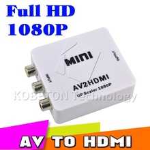 Hot Mini Composite VCBS to AV2HDMI Audio Converter RCA/AV to HDMI Male to Female Adapter Converter  Switch Box 720P 1080P
