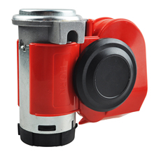Twin Dual Tone Compact Air Loud Horn 12V 110-125db Compressor Red Truck Car Bus Van(China)