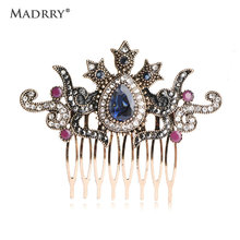 Madrry Vintage Flower Crown Hairwear Hair Combs Hair Clips Hairpins Headdress Turkish Jewelry Antique Gold Color Women Bijoux(China)