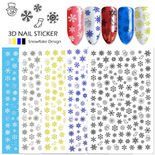 1 Sheet 3d Nail Sticker Christmas 2017 Mixed Design White Gold Snowflakes Adhesive Snow Flowers Nail Art Decal Decor Tips SAF281(China)
