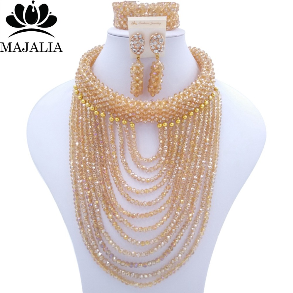 Fashion african jewelry set Gold AB Crystal Nigeria Wedding african beads jewelry set Free shipping Majalia-181