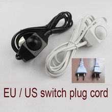 1PC 1.8M  US / EU Plug No Polarity AWG Switch Dimming Cable Light Modulator Lamp Line Dimmer cord 110-220V