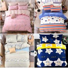 Fashion Floral Stars Stripe Cartoon Cats 4Pcs Twin/Full/Queen/King Size Bed Quilt/Duvet/Doona Cover Set & Sheet Shams Pink Blue