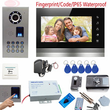 "New Fingerprint Key Intercom Video Doorphone Kit With Touch Buttons Color 7"" Metal Lcd Home Intercom IP65 Waterproof Rfid Lock"