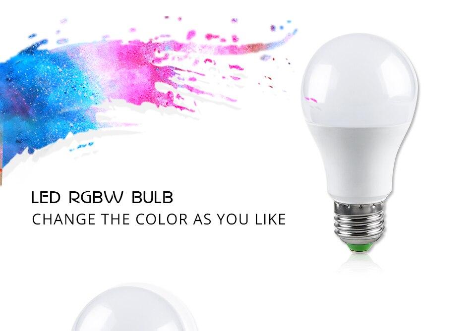 Foxanon E27 RGBW RGBWW 85-265V Led Lamps 10W LED Bulb Lamp 24Keys Remote Controller Colorful Night Light Home Lighting Decor_01