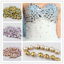 Hot Sell 100PCs 8mm 4 Holes Sewing Acrylic Buttons Shank For DIY Party Wedding Clothes Decorative Gold Silver Side Pink Purple