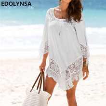 Buy Beach Dress 2018 Tunic Sexy Solid Hollow Chiffon Casual Dress Plus Size Tunic Bohemian Dresses Women Summer Dresses #N425 for $12.49 in AliExpress store