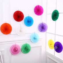 10pcs Colorful Handcraft Paper Fan Rosettes Folding Fan Flower Home Wedding Shower Backdrop Decor Kid's Birthday Party Supplies(China)