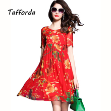 Tafforda Red Print Silk One Piece Dresses of The Big Sizes 3XL 2017 New Summer Loose Floral Silk Satin Summer Dresses for Women