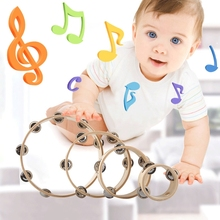 Cute Wood Single Row Tambourines Bells Jingles Hand Held Musical Toy kid(China)