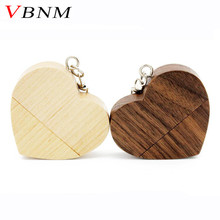 VBNM Wooden Heart Usb flash drive Memory Stick Pen Drive 8gb 16gb 32gb Company Logo customized Wedding Gift photography gift(China)