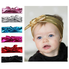 6 Pcs New Hot Fashion Children Bronzing Rabbit Ear Hair Band Elastic Headband Baby Girl Hair Accessories Lovely Kids Bowknot(China)