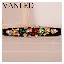 Vanled Colorful Gemstone Women Belt  Jeweled Elastic Lady belts Girdle Korean Crystal Femme Ceinture Elastic Waistband