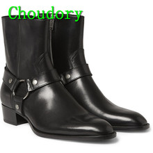 Choudory New Leather Chukka Martin Ankle Boots Men Fashion Horsebit Round Toe Buckle Strap Low Heels Breathable Men Dress Shoes