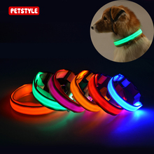 5 Sizes USB Rechargeable Adjustable Collar LED Nylon Pet Dog Series Night Safety Light Flashing Dog Cat Collar Pet Supplies