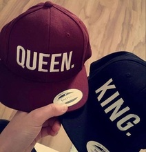 QUEEN KING Snapback Hat Men Women Couple Baseball Cap Gifts Lovers Cap Hip Hop Hats Fashion hot sale Black Red wine caps