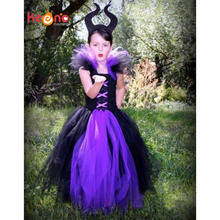 Maleficent Evil Queen Girl Tutu Dress with Horns Halloween Photo Prop Purim Kids Baby Fancy Costume Handmade Dress TS127(China)