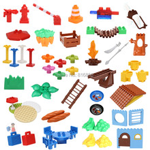 Large Particles DIY Blocks Table Grass Umbrella Tree Creative Building Blocks Compatible with duploed Baby Education Toys(China)