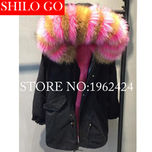 2017 New Women Winter Army Green & Black Thick Parkas Plus Size Real Raccoon Canada Rose Wolf Fur Collar Hooded Out wear coat(China)
