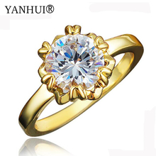 YANHUI New Fashion Pure 24K Gold Color Solitaire Ring Wedding Jewelry Natural Top 5A 8mm 2 Carat Diamant Engagement Ring HR560(China)