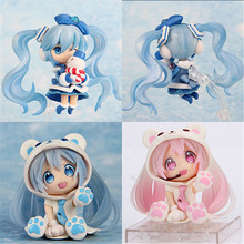Anime Action Figure PVC Toy Snow Pink Bear Hatsune Miku Cartoon Model Doll Figurine Cosplay Toys for Children Gift 6cm