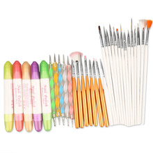 32pcs/ set Nail Art DIY Design Set Dotting Painting Drawing Polish Brushes Pen Salon or Homeuse Manicure Nail Decoration Tools