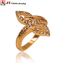 JN Classic leaves shape rings High quality copper ladies rings zircon jewelry 2017 new style reasonable price rose gold color(China)