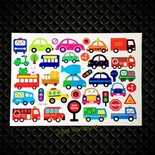 DIY South Korea Temporary Tattoo Stickers Cute Children School Tatoo GCG-145 Kids Gifts Toys Bus Car Waterproof Tattoo Body Art(China)