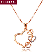 ZHOUYANG Top Quality ZYN459 Love Heart Necklace Rose Gold Color Fashion Jewellery Nickel Free Pendant Crystal