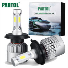 Partol S2 H4 H7 H13 H11 H1 9005 9006 H3 9004 9007 9012 COB LED Headlight 72W 8000LM Car LED Headlights Bulb Fog Light 6500K 12V