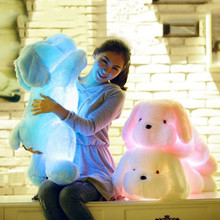 Blue Pink White 3 Color LED Dog Doll Stuff Toy Nightlight Plush Toy Glow Pillow Soft Light Up Inductive Soft Doll Gift Hot