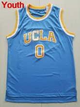Youth Embroidery Stitched Throwback Basketball Jerseys #0 Russell Westbrook kids Jersey UCLA Bruins Retro shirt blue white(China)