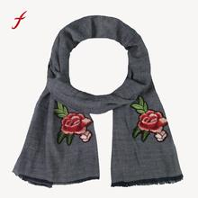Feitong Brand New snud Women Rose Applique Embroidery Women's Shawl Pashmina Stole Scarf Scarves Female Hot Sale 2017 poncho(China)