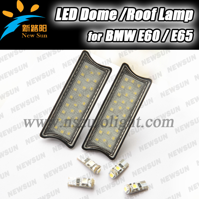 2016 New 2 pcs DC 12v car Led interior decorated dome/roof lights for BMW E60 E65 auto reading lighting with 4 T10 led bulb<br>