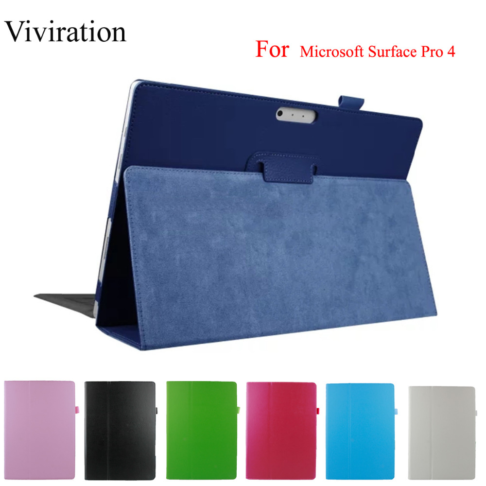 "PU Leather Case For Microsoft Surface Pro 4 12.3"" Flip Stand Cover Smart Case Tablet Magnetic Shell For Microsoft Surface Pro 4"